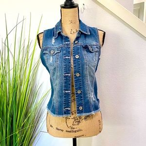 maurices fitted jean vest with fringe at bottom hem